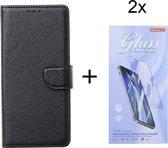 Alcatel 1S 2021 / Alcatel 3L 2021 - Bookcase Zwart - portemonee hoesje met 2 stuk Glas Screen protector