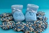 Kleintje fotografie geboorte kaart jongens (slofjes) - Blauw