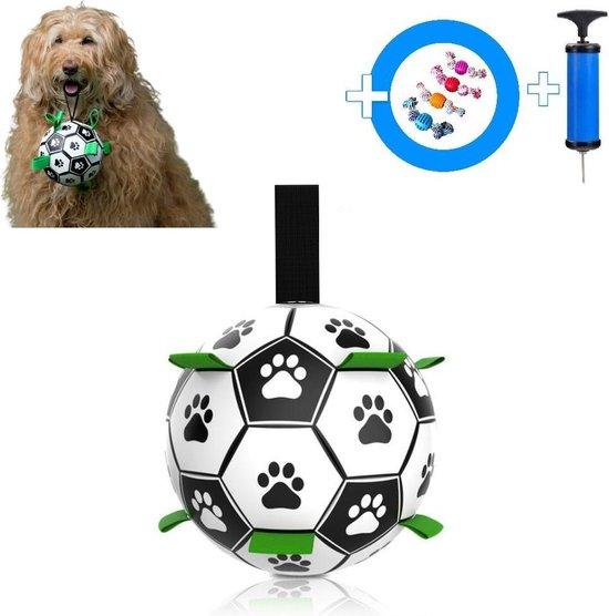 Honden Speelgoed Bal Voetbal Extra Sterk Met Handvaten Ball Hondenbal - 15 cm - Dutchwide®