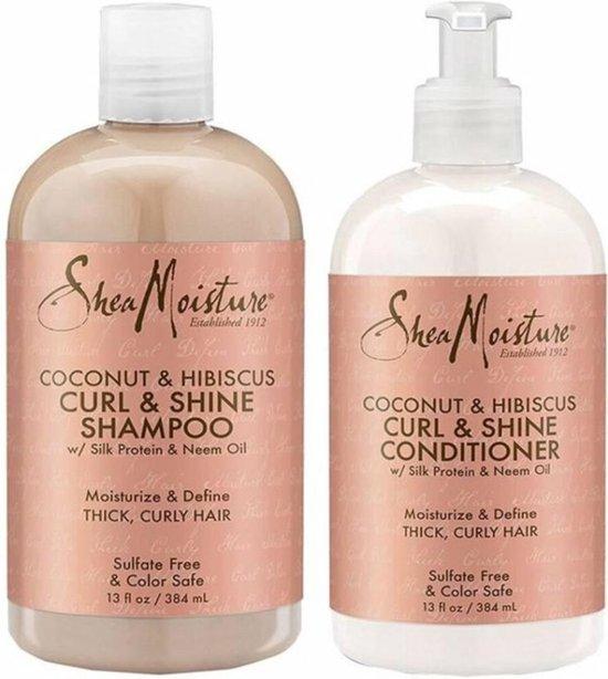 Shea Moisture Coconut & Hibiscus Curl & Shine - Shampoo & Conditioner Pakket