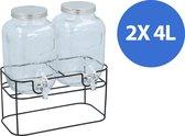Cuisine Elegance - dubbele drankdispenser - 2x 4 liter - inclusief standaard - 33x17x32cm