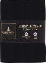 Hotel Royal | Satijnen kussensloop | Zwart | 60x70 cm | Zachte kussensloop gemaakt van satijn | Kussen sloop | Kussen hoes | Satin pillowcase
