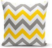Velvet Kussenhoes  - Grijs en geel zigzag - 45x45 - kussensloop - Aan beide zijden bedrukt