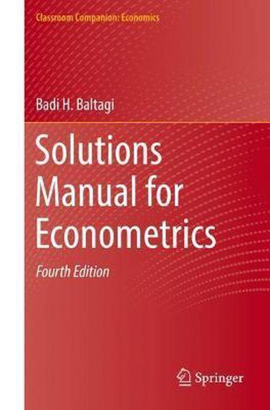 Boek cover Solutions Manual for Econometrics van Badi H. Baltagi (Paperback)