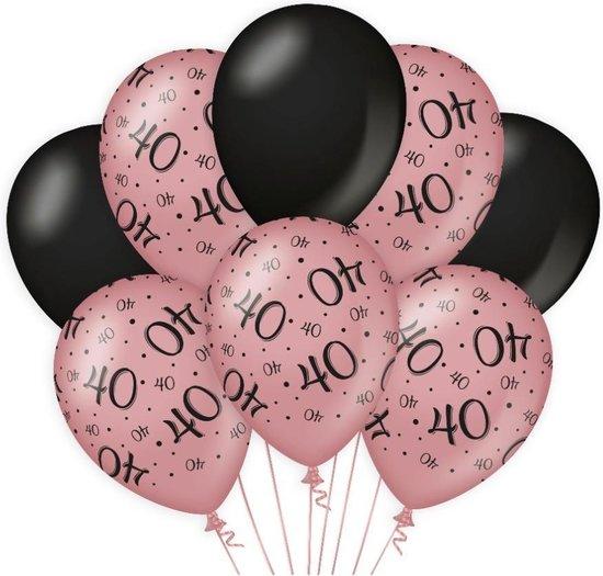 Decoratie Ballonnen Rose/Zwart 40 Jaar