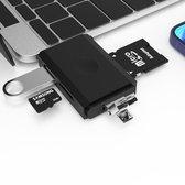 Sounix® cardreaders - 6 ports kaartlezers - Kaartlezers USB 3.0 voor Micro SD kaart -SD Kaart -Type C -  micro SD USB - zwart