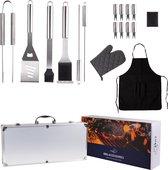 BBQ accesoires gereedschapset koffer set tang borstel schort barbecue - Chef cook BBQ accessoires set - Zilver