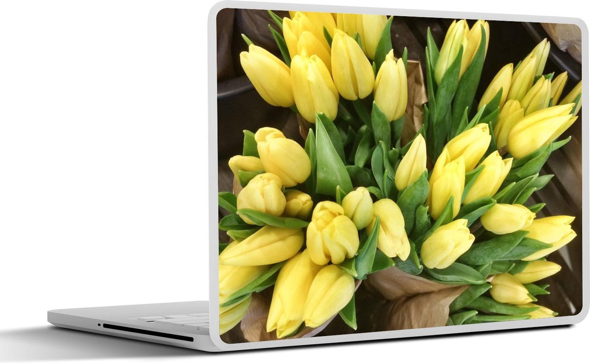 Laptop sticker - 10.1 inch - Boeket van gele tulpen