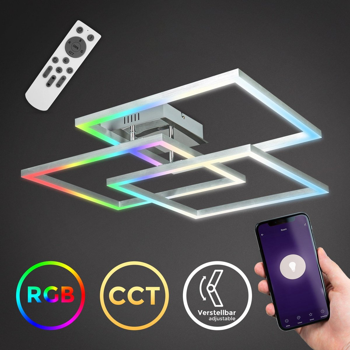 B.K.Licht - LED FRAME lamp - Smart Plafondlamp - WiFi - met App en afstandsbediening - CCT en RGB - dimbaar - 48 Watt - 4800 lumen - Chroom-Aluminium