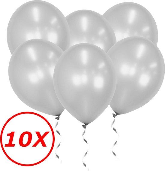 Zilveren Ballonnen Feestversiering Verjaardag 10st Metallic Zilver Ballon