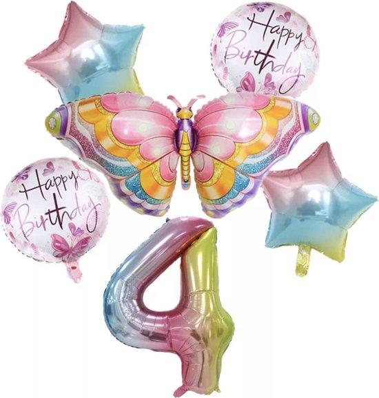 Dieren ballon - 4 jaar ballon - Kinderfeestje - Vier jaar - Verjaardagfeest - ballonnen pakket - Kinderfeestje pakket - Vlinder ballonnen pakket