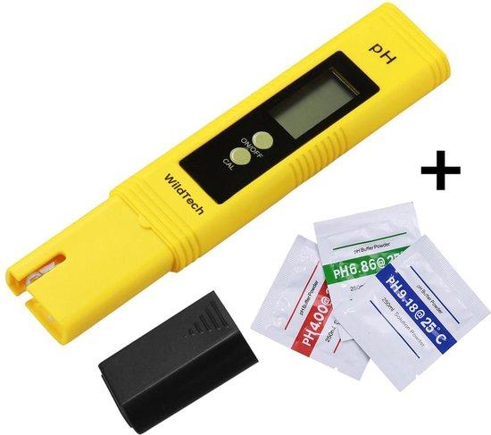 PH meter – PH meter digitaal – PH waarde meten van water/zwembad/aquarium – PH test – Inclusief kalibratiepoeders en 2 batterijen - Geel
