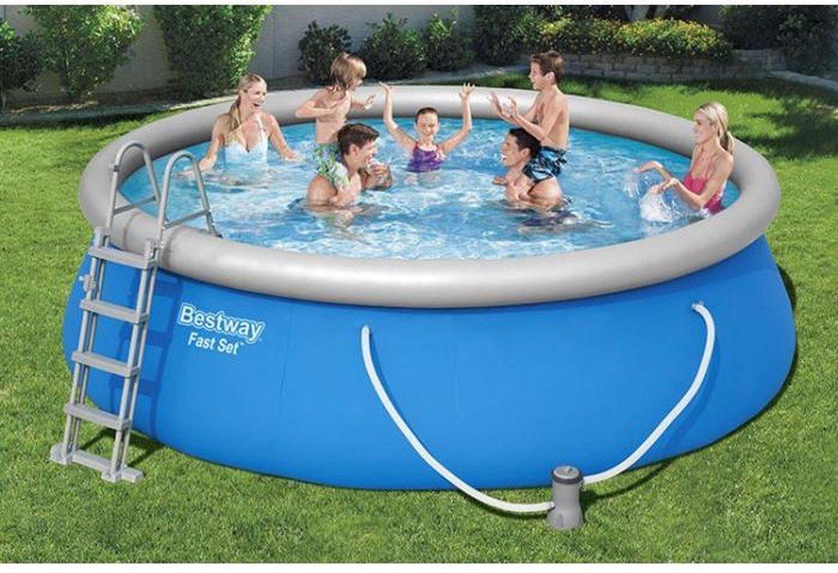 """Huis Depot - Opblaasbaar Zwembad """"Hydro Luxury"""" - rond - filterpomp - trap - beschermhoes - 457x122 cm"""