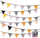 Fissaly® Verjaardag Stoffen Vlaggetjes Slinger – Decoratie – Happy Birthday - Luxe feest versiering voor je verjaardagsfeest – Rood, Geel, Blauw, Groen, Paars & Oranje
