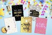 Verjaardagskaarten - Set van 20 gevouwen kaarten - met envelop - holografische goudfolie