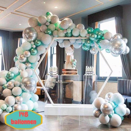Baloba® BallonnenBoog Macaron Tiffany Blauw, Grijs, Macaron Blauw, Chrome Groen & Chrome Zilver ballonnen - Feest Versiering Ballonnen - Verjaardag Bruiloft Versiering - 148 Helium Ballonnen