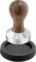 Navaris koffie en espresso tamper - Stamper voor het aandrukken van gemalen koffie - Van roestvrij staal met houten handvat - Ø 58 mm
