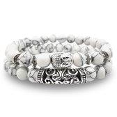 AWEMOZ® Natuursteen Boeddha Armbanden - Boedha Kralen Armbandjes - Buddha - Wit - Armband Dames