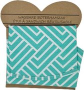 Wasbare Boterhamzak - Herbruikbaar - Turquoise / Wit - Katoen - Ø 36 cm