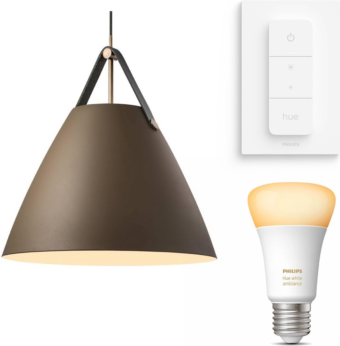 Nordlux Strap 48 hanglamp - LED - bruin - 1 lichtpunt - Incl. Philips Hue White Ambiance E27 & dimmer