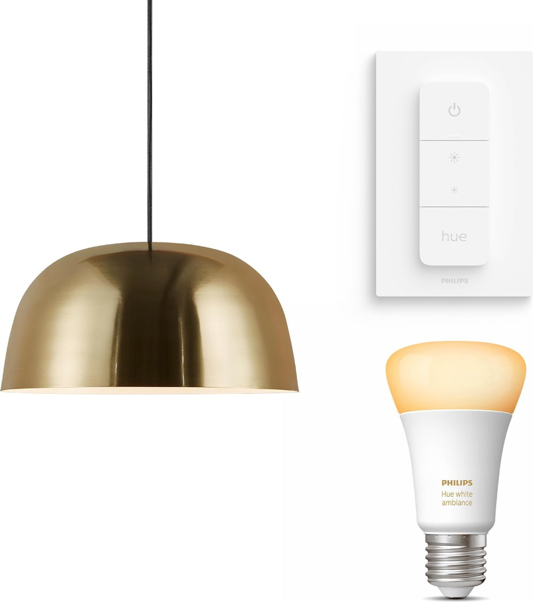 Nordlux Cera hanglamp - LED - goud - 1 lichtpunt - incl. Philips Hue White Ambiance E27 & dimmer