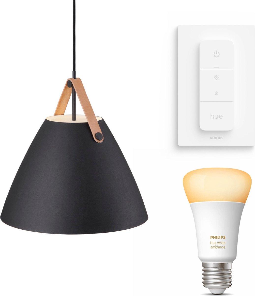 Nordlux Strap 36 hanglamp - LED - zwart - 1 lichtpunt - Incl. Philips Hue White Ambiance E27 & dimmer