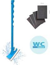 Wc Stain Remover - Wc Vlekkenverwijderaar Borstel -  met 4 Reinigingspads - Bio Plastic - Blauw