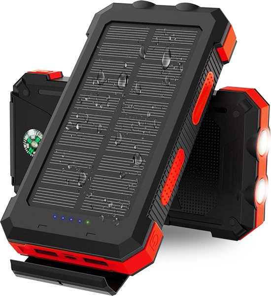 Solar Powerbank - 20000 mAh- 2x USB - IP64 - Powerbank Iphone - Powerbank Samsung - Powerbanks voor Dagelijks Gemak