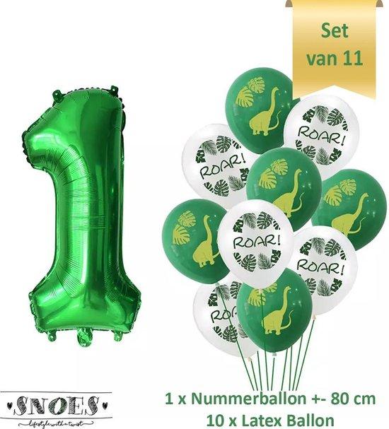 Dino * Dinosaurus Ballonnen Set * Dino Verjaardag Feest * Hoera 1 Jaar * 1 Jaar Cijfer Ballon * Snoes * Nummer Ballon 1