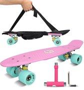Weely® Kicktail Longboard voor Volwassenen & Kinderen – Mini Skateboard Meisjes & Jongens – Mini Longboard Cruiser