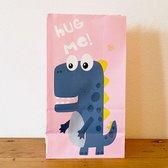 10 x Dinosaurus Uitdeelzakjes Dino feestje - 10 x Dino zakjes voor traktatie school of kinderfeestje