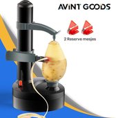 Elektrische aardappelschiller - Schiller - Appelschilmachine - Dunschiller - Incl 2 x Reserve Aardappelschilmesjes - Automatisch - Snel, Veilig & Eenvoudig Schillen - Zwart