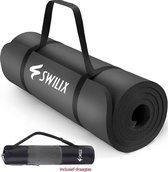 SWILIX ® Fitness Mat - Incl. Draagriem En Draagtas - Zwart - 190 x 66 x 1.5 cm
