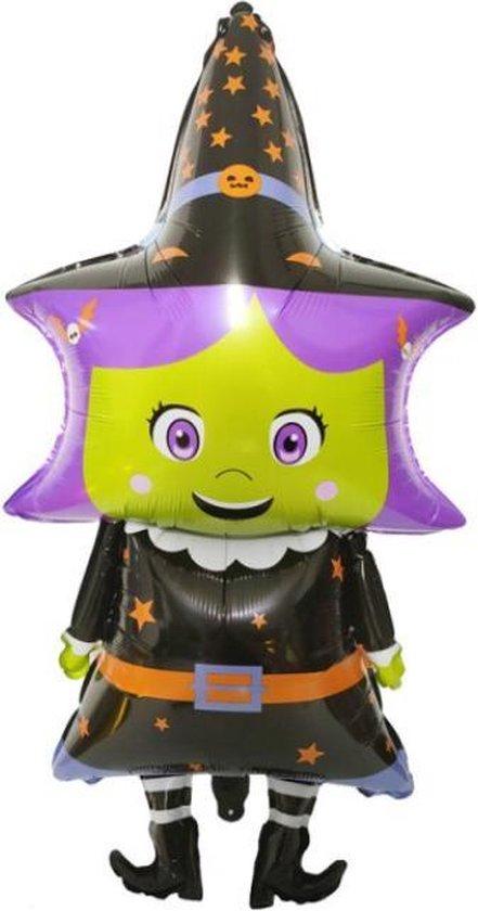Heks Ballon - XXL - 98x47cm - Ballonnen - Halloween - Thema feest - Verjaardag - Helium ballon - Horror - Folie ballon - Leeg - Halloween Versiering - Halloween accessoires - Halloween decoratie