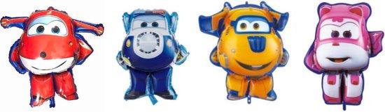 Super Wings ballonnen - XL - set van 4 stuks - 81x83cm - Vliegtuigen - Verjaardag - Versiering kinderfeestje - Feestpakket - Super Wings - Folie ballon -Feest - Leeg - Dizzy - Jett - Paul - Donnie