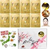 MITOMO Japan Gold & Bee Venom Beauty Face Mask Giftbox - Japanse Skincare Rituals Gezichtsmaskers met Geschenkdoos - Geschenkset Vrouwen - 8-Pack