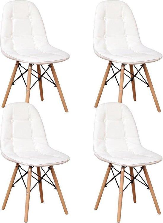 Loft Home® Eetkamer stoel   Set van 4   Moderne look   Kuipstoel   Stoel   Zitplek   Complete set   Leer   Wit