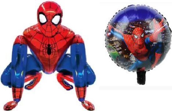 Spiderman 3D XL + 18 inch ronde Ballon - Set van 2 - 66x55,5cm - Folie Ballon - Thema Verjaardag - Superheld - Versiering - Ballonnen - Helium ballon - Leeg - Ballon
