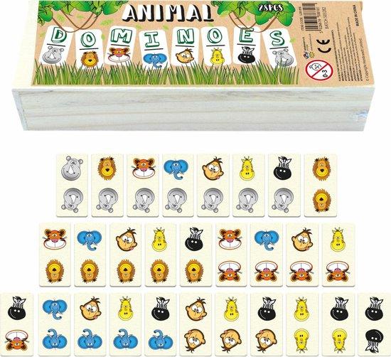 Dieren domino hout 28 Stuks - Domino spel - Familiespel - Educatief houten speelgoed