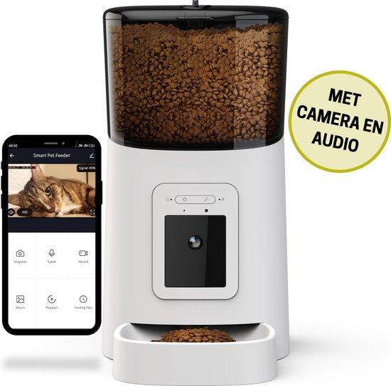 BOME Voerautomaat met Camera en Audio - Automatische Voerbak Kat - Voerbak Hond - Inclusief App - Voerautomaat Kat - Wit