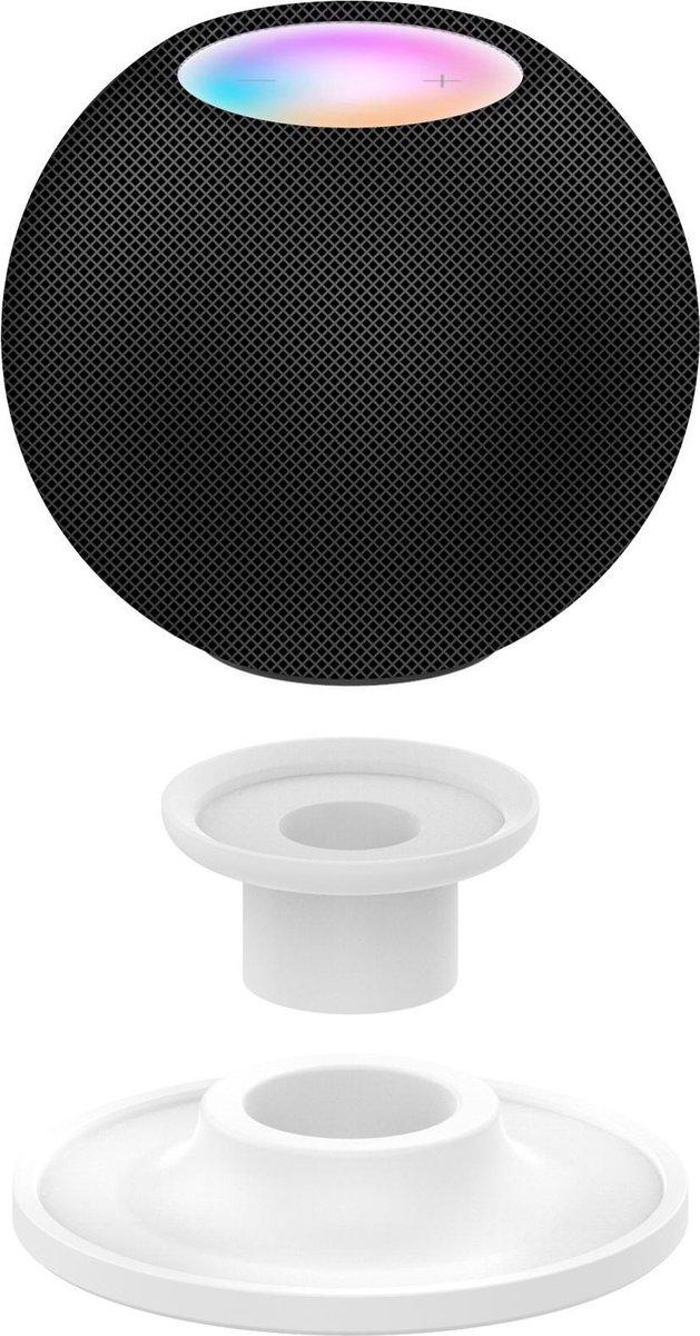 2-In-1 Dock Charger Standaard Houder Voor Apple Homepod/Homepod Mini Smart Speaker - Siliconen Docking Station Oplaadstation Desk Mount - Tafel Stand Steun - Display Oplaad Stand - Laadstation - Tafel/Bureau/Nachtkastje - Antislip - Wit