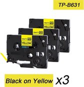 3x Brother Tze-631 TZ-631 Compatible voor Brother P-touch Label Tapes - Zwart op Geel - 12mm