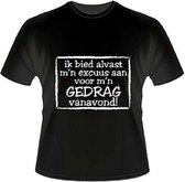 Paperdreams - T-shirt - Excuses voor mijn gedrag - XL