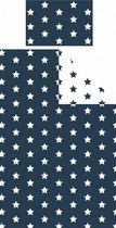 1 persoons kinderdekbedovertrek blauw met witte sterren/sterretjes