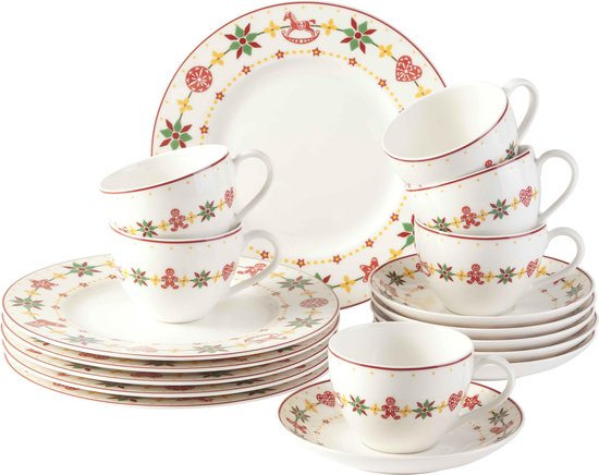 Vivo Villeroy & Boch Group Peaceful Christmas Koffieset - 18 delig