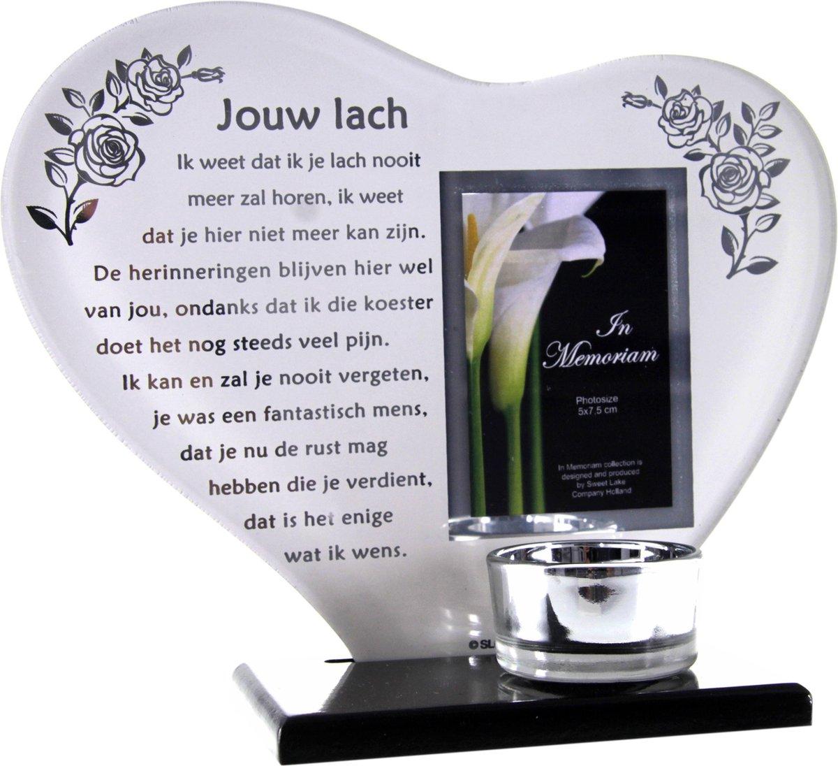 Verbazingwekkend bol.com   Waxinehouder in memoriam overleden glas hart met gedicht PU-54