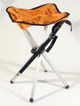 Campusit lichtgewicht camping / vis krukje - 4-poot - aluminium - Oranje