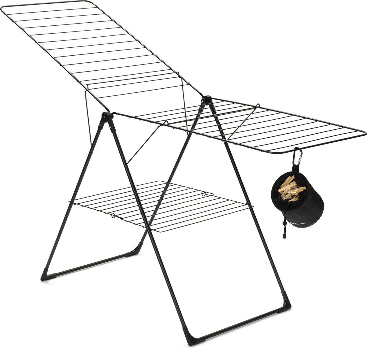 Brabantia Droogrek T model met wasknijpertasje - 20 m - Zwart