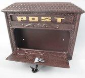 Klein formaat gietijzeren vintage brievenbus - gietijzer - bruin