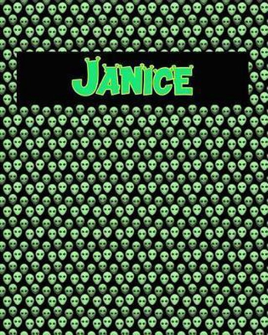 120 Page Handwriting Practice Book with Green Alien Cover Janice